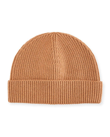 Image 1 of 2: Men's Cashmere Ribbed Beanie