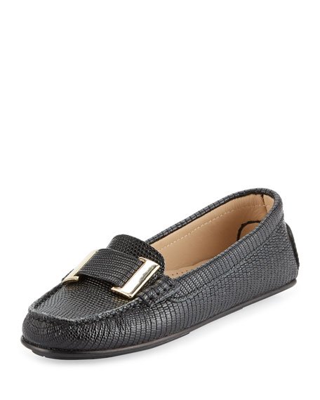 Delman Renna Lizard-Embossed Ornament Loafer