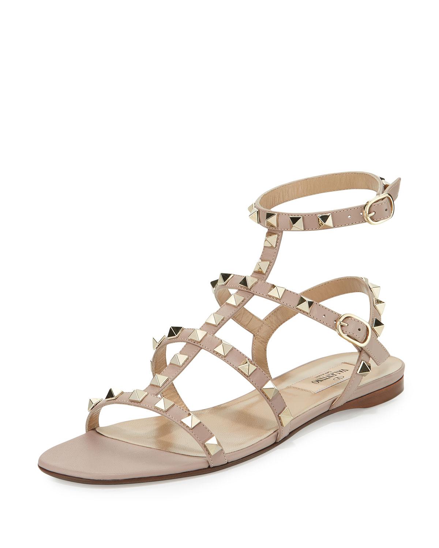 da46ed6eced0 Valentino Garavani Rockstud Leather Flat Sandal