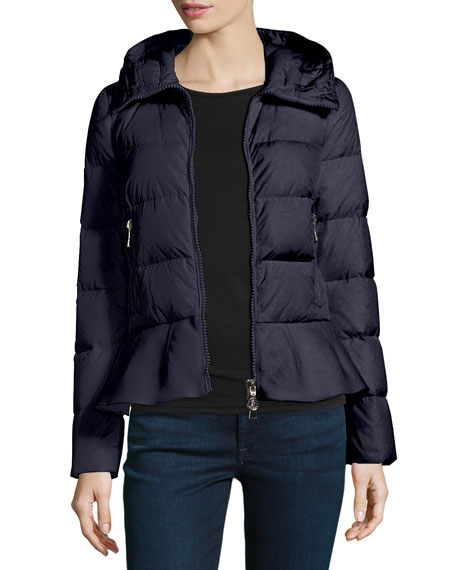 Nesea Quilted Puffer Coat w/Wool Trim