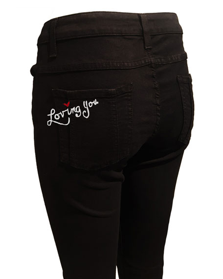 Stacey Loving You Embroidered Bell-Bottom Jeans