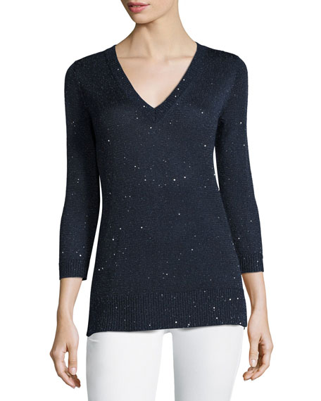 3/4-Sleeve Sequin V-Neck Pullover