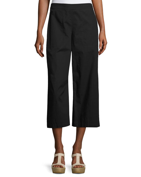 Organic Cotton Wide-Leg Cropped Pants