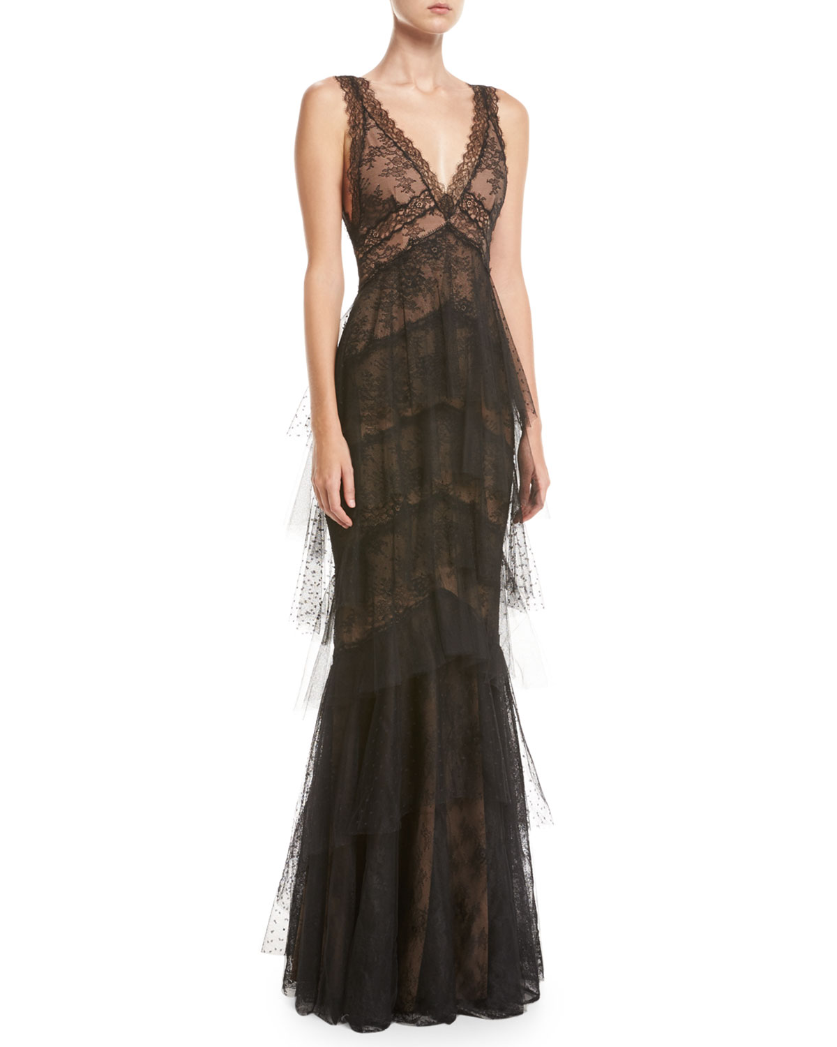 8dfd8d7c1d Marchesa Notte Sleeveless Lace Tiered Gown | Neiman Marcus