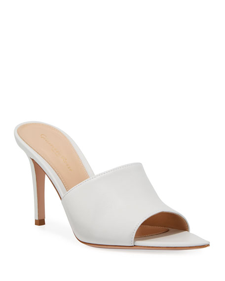 Image 1 of 3: Point-Front Smooth Leather Slide Sandals