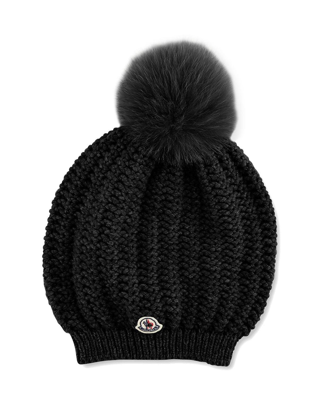 c53ec9ca026 Moncler Bailey Slouchy Fur-Pom Beanie Hat