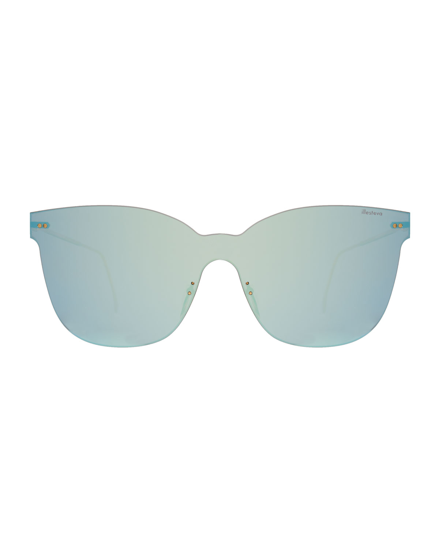 Illesteva Piazza Mask Mirrored Sunglasses   Neiman Marcus