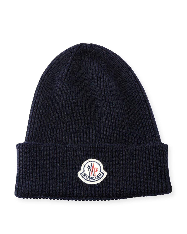 5892e3171ac Moncler Ribbed Wool Logo Beanie Hat