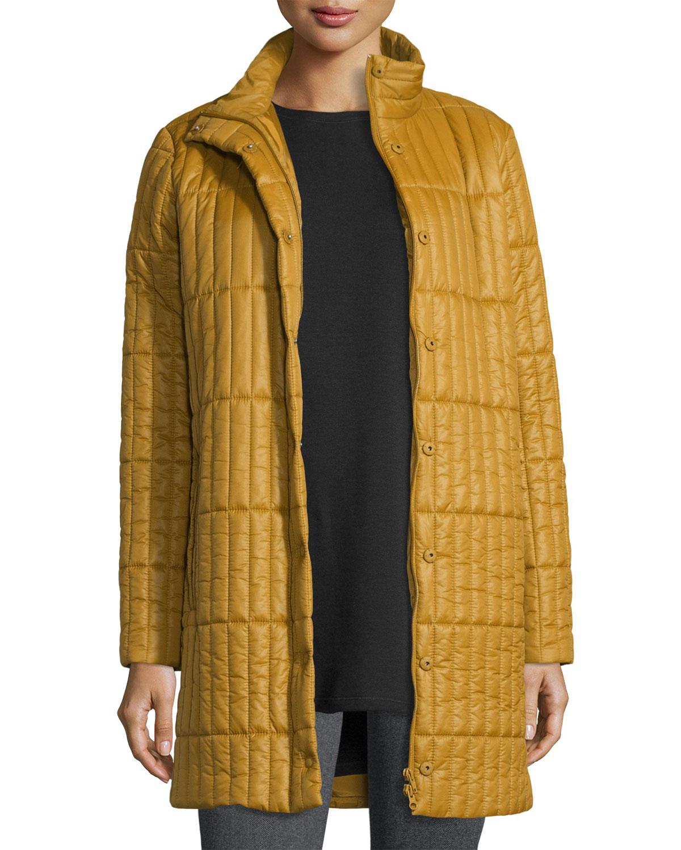cb45c511fd9b0 Eileen Fisher Quilted Nylon Knee-Length Coat