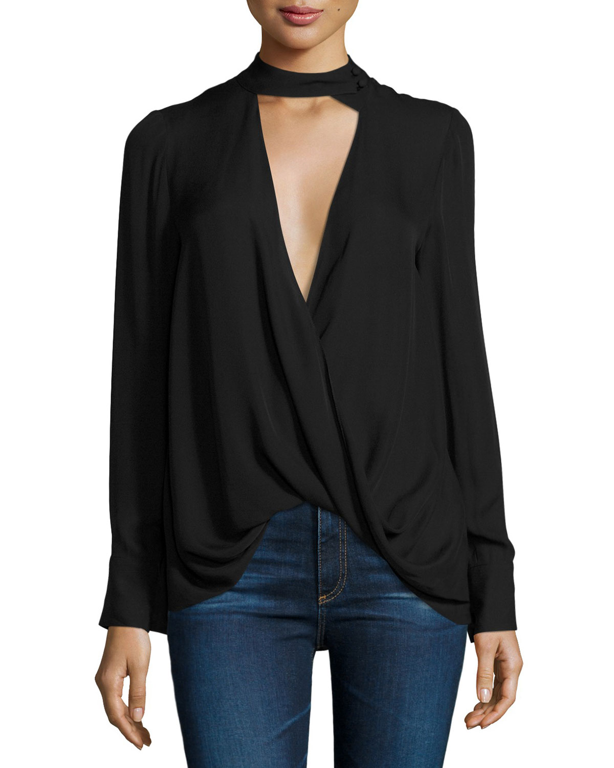 12fb496092a993 Derek Lam 10 Crosby Long-Sleeve Draped Silk Charmeuse Blouse ...