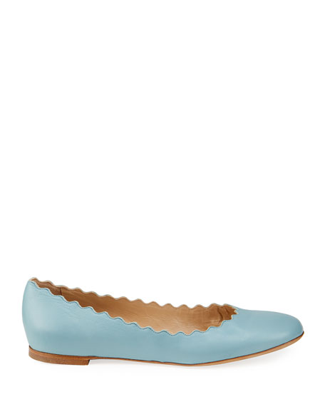 Lauren Scalloped Leather Ballet Flats