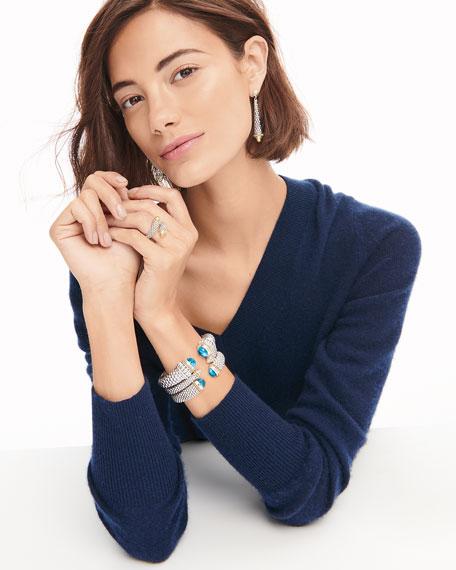 LAGOS Caviar XL Cuff Bracelet with Blue Topaz Caps