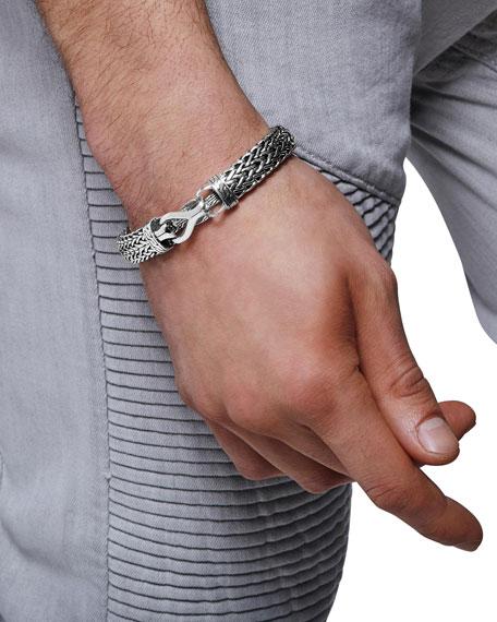 John Hardy Men's 11mm Classic Chain Flat-Link Silver Bracelet w/ Pusher Clasp