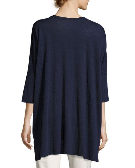 Dolman-Sleeve Boxy Organic Linen Tunic, Plus Size