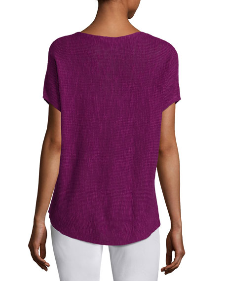 Short-Sleeve Boat-Neck Linen/Cotton Box Top