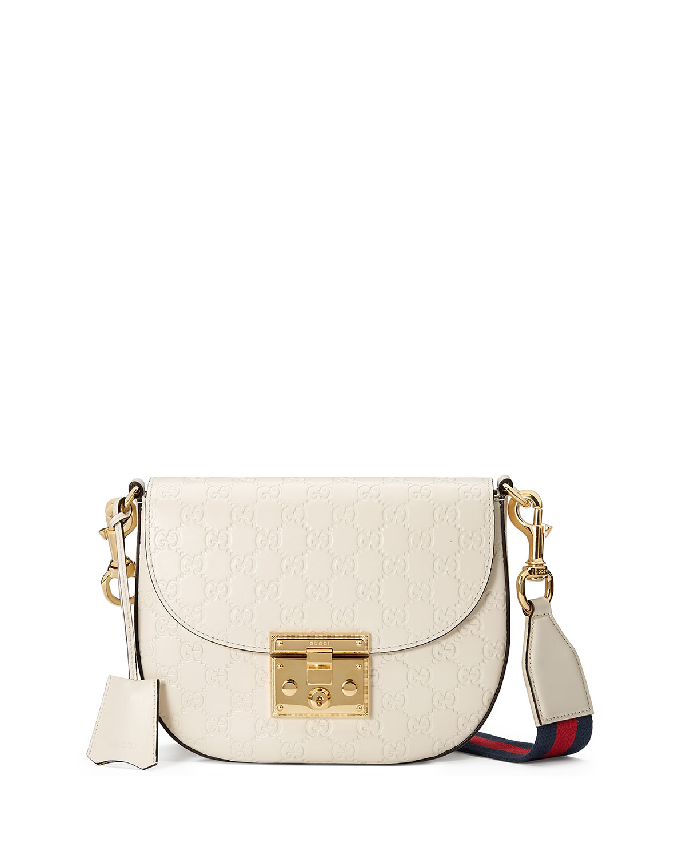 e69e2b21529c79 Gucci Padlock Medium Guccissima Curved Crossbody Bag   Neiman Marcus