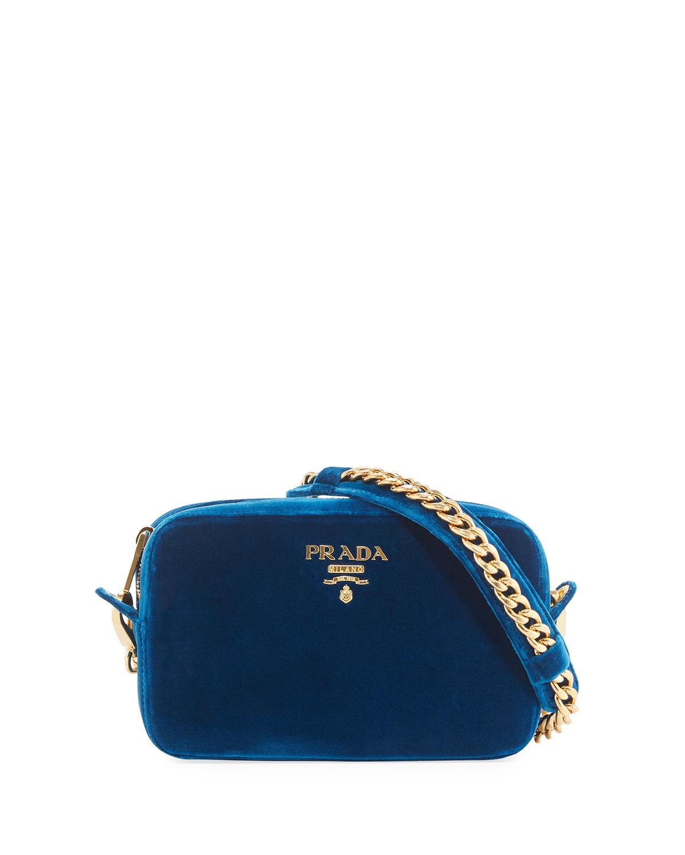 371289838541 Prada Velvet Zip-Top Chain Shoulder Bag
