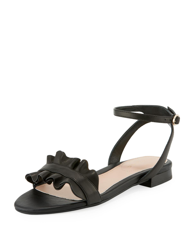 fbd73c6f3c1a4 Taryn Rose Vesta Ruffle Leather Flat Sandals
