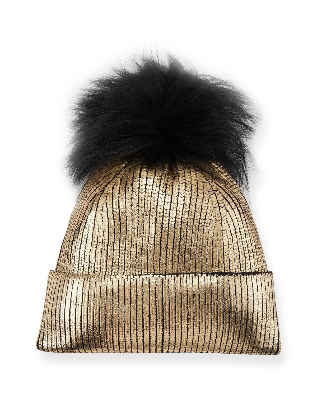 f9c3d46726667 Jocelyn Metallic Fur-Pompom Beanie Hat