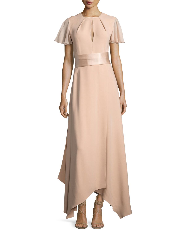 Diane von Furstenberg Flutter-Sleeve High-Neck Gown | Neiman Marcus