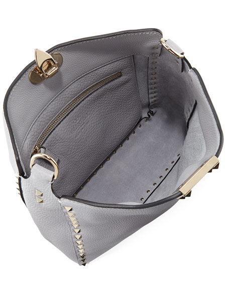 Image 2 of 4: Valentino Garavani Rockstud Small Vitello Leather Hobo Bag