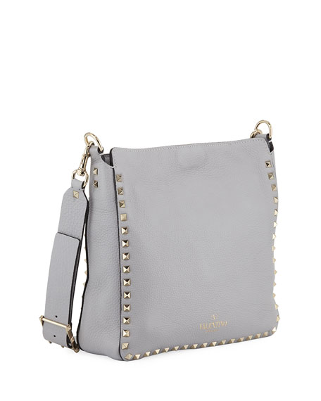 Image 3 of 4: Valentino Garavani Rockstud Small Vitello Leather Hobo Bag