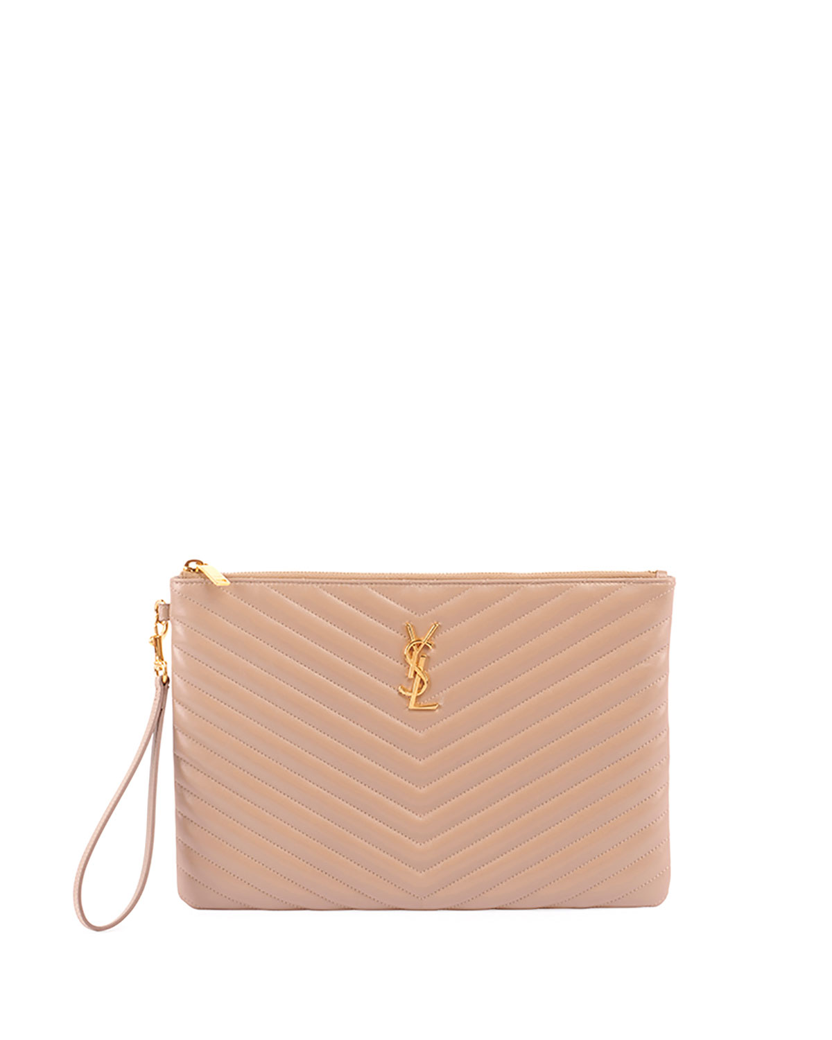 bc95aa9b249 Saint Laurent Monogram YSL Quilted Leather Tablet Pouch Bag | Neiman ...