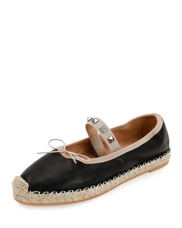 a2c12dfe04e6 Valentino Garavani Rockstud Leather Ballet Espadrille Flats