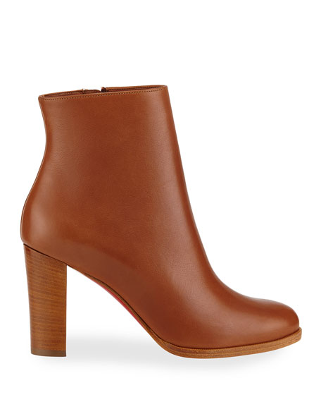 Image 2 of 4: Christian Louboutin Adox Leather Block-Heel Red Sole Boots