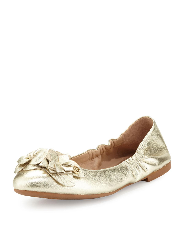 b07175b18541 Tory Burch Blossom Metallic Ballerina Flat