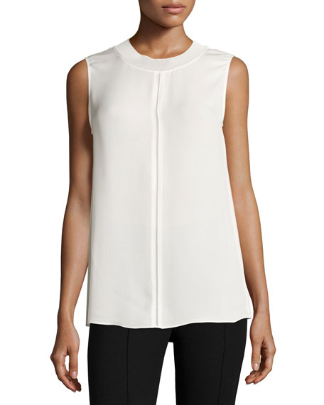 Seam-Detail Sleeveless Silk Top
