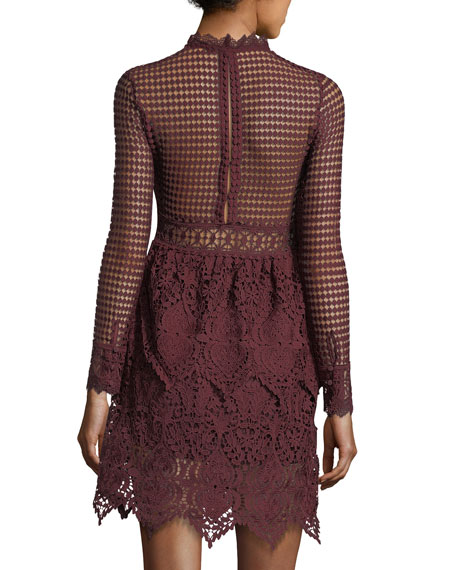 Mock-Neck Lace Dress