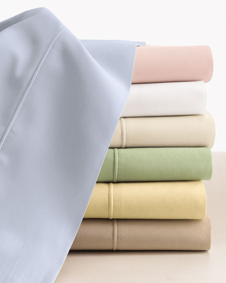 SFERRA Queen Italian 500 Thread Count Percale Fitted Sheet