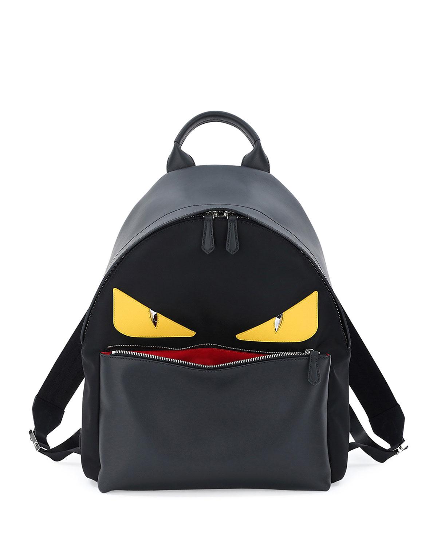 f9b325c3a21 Fendi Monster Eyes Leather Nylon Backpack
