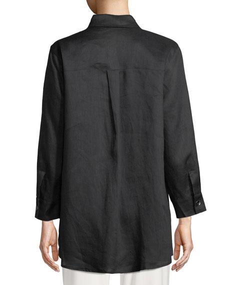 Plus Size Tissue Linen Boyfriend Shirt