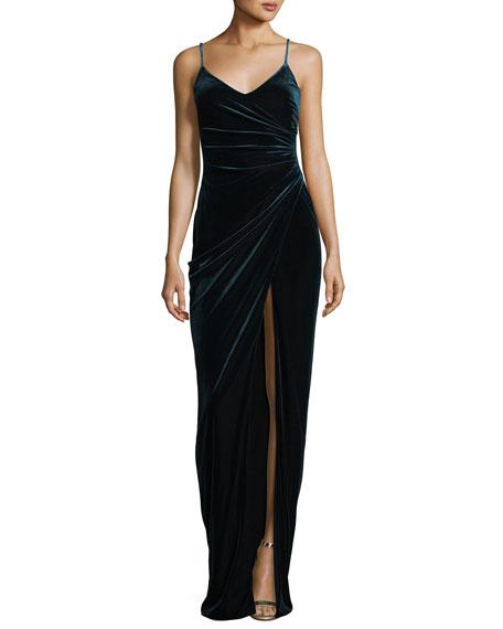 Black Halo Bowery Sleeveless V-Neck Velvet Evening Gown