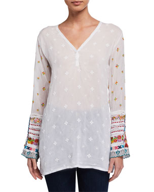7f0c8abc2aa6 Johnny Was Embroidered-Trim Long-Sleeve Tunic