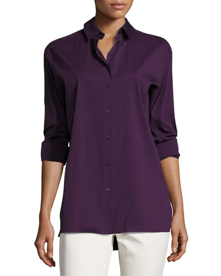 Dannell Button-Front Stretch-Cotton Blouse