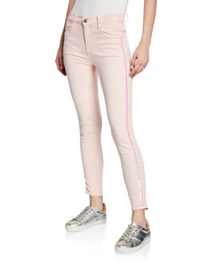 727bafb042e4a4 J Brand Alana High-Rise Cropped Super Skinny Jeans w/ Ladder Lace