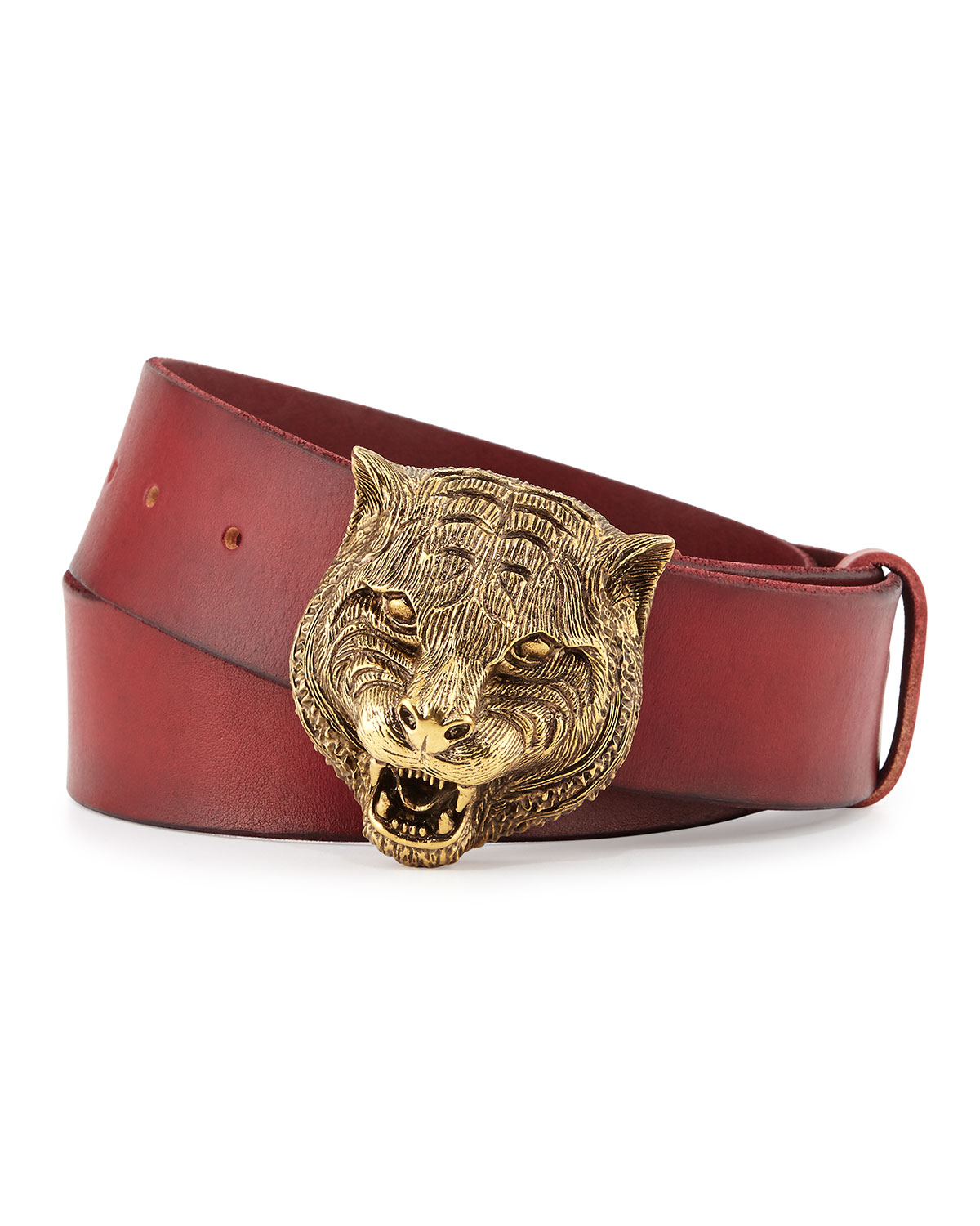 Gucci Men's Leather Belt with Tiger Buckle | Neiman Marcus