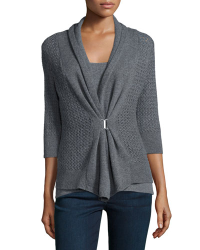 OPEN WEAVE BUCKLE CARDIGAN
