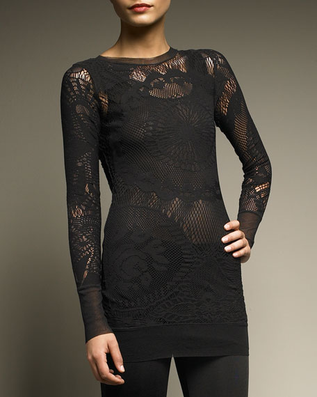 BLK LS LACE TUNIC W/LINING