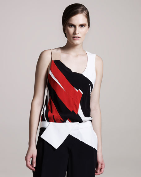 Abstract Crepe Top