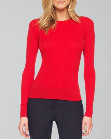 Featherweight Cashmere Crewneck Sweater, Crimson