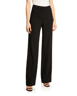 St. John Collection Crepe Marocain Straight Leg Diana Pants, Caviar