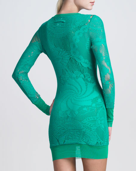 Lace-Mesh Long-Sleeve Dress