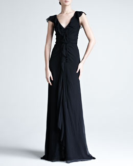 Carolina Herrera Crinkled Chiffon Gown