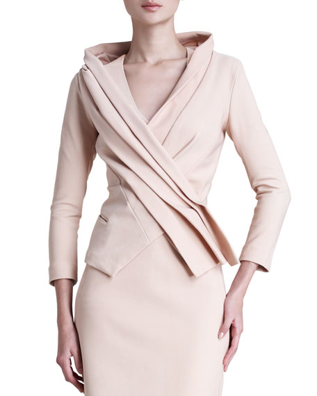 Donna Karan Matte Stretch Crossover Jacket