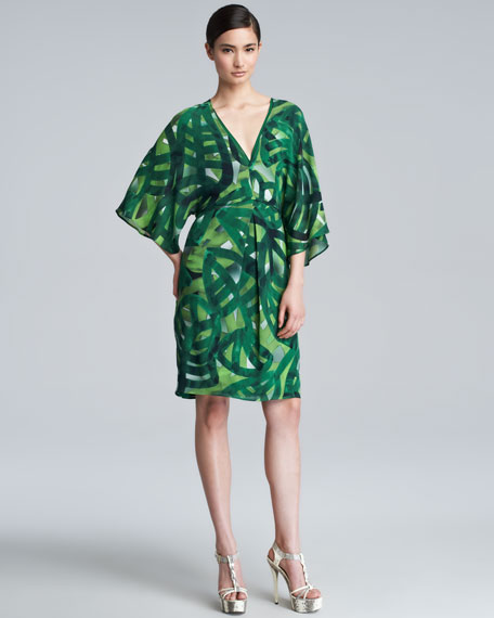 Printed Silk Caftan Dress, Green