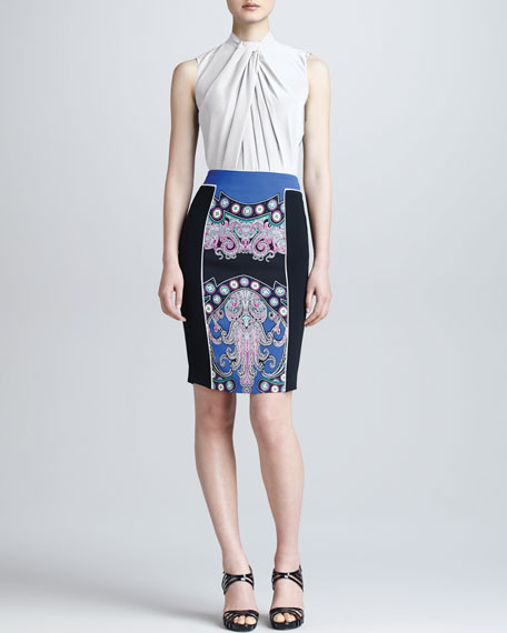 Colorblock Printed Pencil Skirt